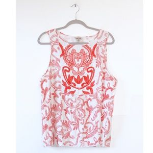 Lucky Brand Red White Embroidered Tank Top XL
